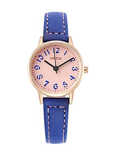 Kids Easy to Read Leather Wrist Watch Girls Analog Quartz Watch Dark Blue