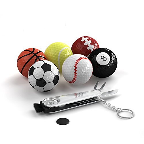 Sports Themed Golf Balls Set By Trained: Pack Of 6 Novelty Balls With Multifunction Golf Tool, Gift Idea For Golfers For Every Occasion, Unique And Fun Design
