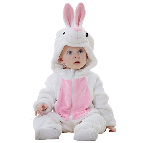 IDGIRL Baby Bunny Costume, Animal Rabbit Cosplay Pajamas for Girl Winter Flannel Romper Outfit 12-18 Months, White One Piece]()