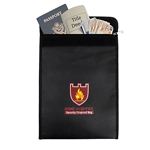 Rou-shot Fireproof Document Bag,Double Layer Fireproof and Waterproof Safe Bags, Perfect for Money, Documents, Jewelry and Passport Safes (15'' x 11'') by Rou-shot (Image #1)