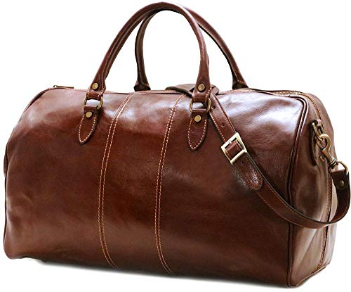 Leather weekender travel bag by Floto Luggage