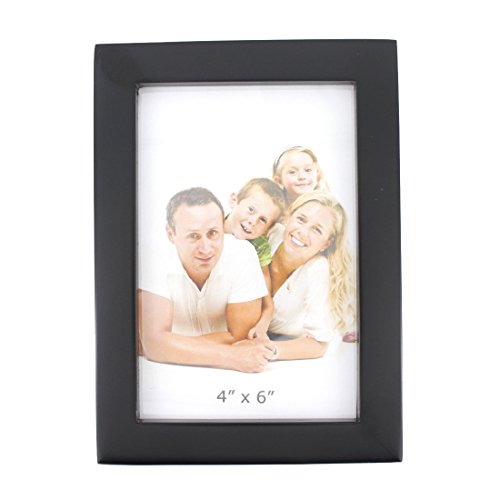 Classic Rectangular Wood Desktop Family Picture Photo Frame with Glass Front (Black, 4x6)