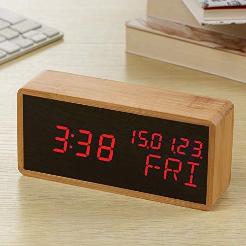 Snooze Despertador Reloj De Bambú Madera Led Espejo Digital Reloj ...