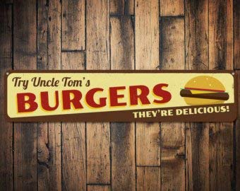 C B Signs L.E.D. Burgers They're Delicious Sign, Personalized Cheeseburger Lover Sign, Custom Grill Master Name Kitchen Sign - Quality Aluminum