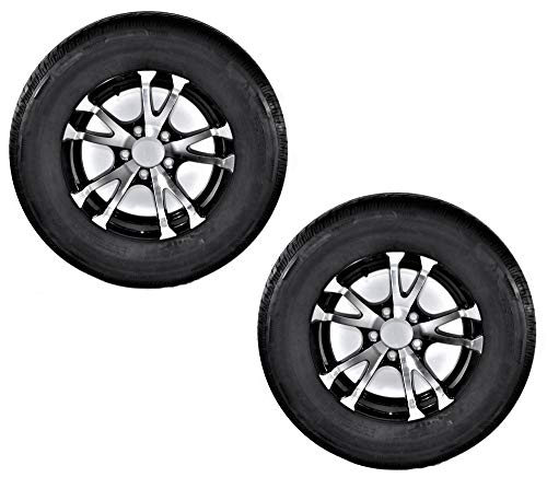 Tire Rims Aluminum - 2-Pack Trailer Tire On Rim ST205/75D14 Load C 5 Lug Aluminum Avalanche V-Black