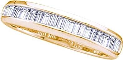14K Yellow Gold Baguette Cut Diamond Engagement Wedding Band 015 Cttw