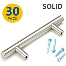 "30 Pack | 5"" SOLID Brushed Nickel T Bar Cabinet Pulls: 3"" Hole Center 
