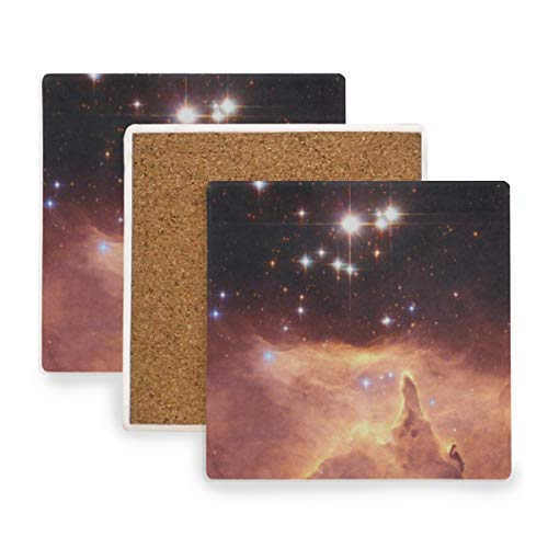Nebula Star Field Retro Coasters, Protect Your Furniture from Stains,Coffee, Cork Coasters Funny Housewarming Gift,Square Cup Mat Pad for Home, Kitchen or Bar Set of 2 ()