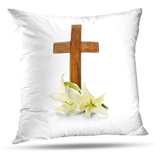 (KJONG Wooden Cross and Lily White Lily Cross Easter Flower Blossom Square Decorative Pillow Case 20 x 20inch Zippered Pillow Cover for Bedroom Living Room(Two Sides Print) )