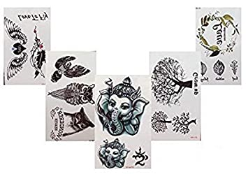 Negro Fake Tatuajes Elefantes Árboles búhos hojas alas 5 unidades ...
