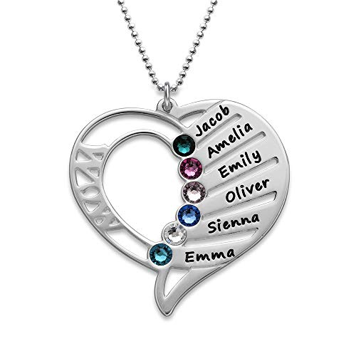 (Engraved Mom Necklace w/Swarovski Birthstones - Personalized Heart Pendant 925 Sterling Silver)