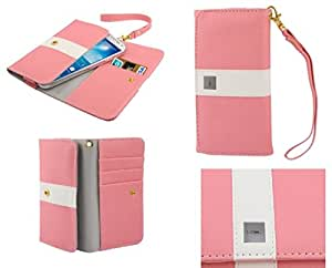 DFV mobile - Cover Premium with Color Line Design with Card Case for => Doogee F1 TURBO > Pink