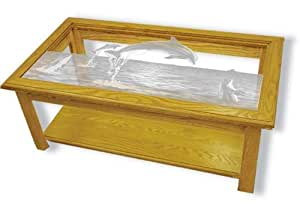Oak Glass Top Coffee Table With Dolphin Etched Glass Dolphin Coffee Table