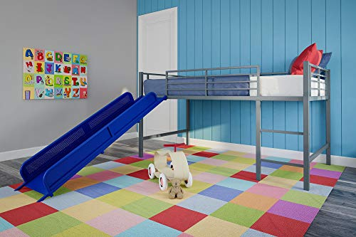 (DHP Junior Twin Metal Loft Bed with Slide, Multifunctional Design, Silver with Blue Slide)