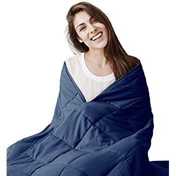 Image of EXQ Home Weighted Blanket 12 lbs for Adults Heavy Blanket Navy Blue Super Soft Thick Blanket with Premium Glass Beads, Organic Cotton EXQ Home B07Y38QPZC Weighted Blankets