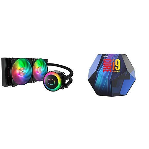 Cooler Master MasterLiquid ML240R Addressable RGB All-in-one CPU Liquid Cooler with Intel Core i9-9900K Desktop Processor 8 Cores up to 5.0 GHz Turbo Unlocked