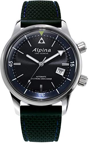 Alpina Seastrong Diver Heritage Grey Dial Leather Strap Men's Watch ()