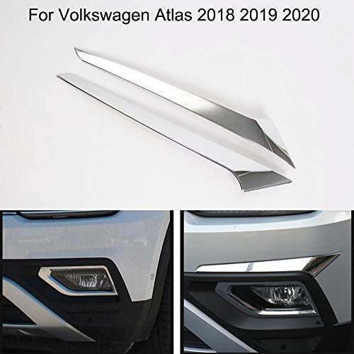 Yingchi-Car / 2pcs Car Decorative ABS Chrome Front Fog Light Lamp Frame Cover Trim for VW Volkswagen Atlas 2018 2019 ()