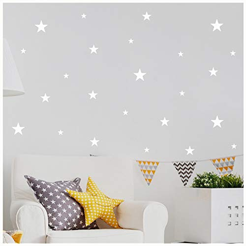 - Stars Assorted Self Adhesive Wall Pattern Stickers (Set of 108, White)