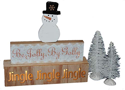 (Changing Seasons Christmas Natural Wood Block Sitter Sign with Trees (White Snowman))