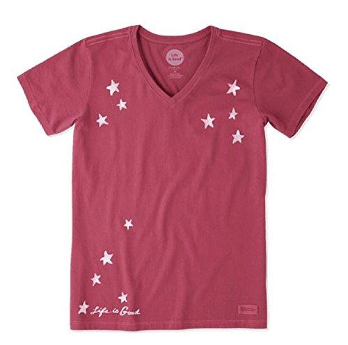 - Life is Good Women's Crusher Vee Star Gazing, Wild Cherry, Large