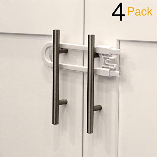 Child Safety Sliding Cabinet Locks (4 Pack) - Baby Proof Knobs, Handles, Doors - U Shape Sliding Safety Latch Lock by Jool Baby ()