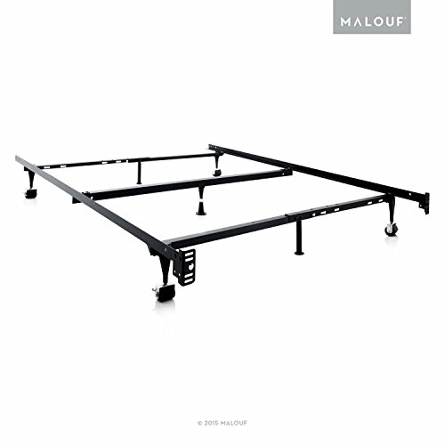 MALOUF Structures Heavy Duty Adjustable Metal Bed Frame with 7 Legs, Center Support and Rug Rollers-(Queen, Full, XL, Twin)