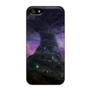 LastMemory Case Cover Skin Case For HTC One M7 Cover (tree City Under The Moonlight)