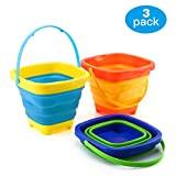 Zooawa Beach Bucket Sand Toy for Kids, [3 Pack] Foldable Beach Pail Silicone Collapsible Buckets Summer Party Playing Portable Pail for Camping, Fishing and Home Storage, 2 Liter/0.5 Gallon, Colorful