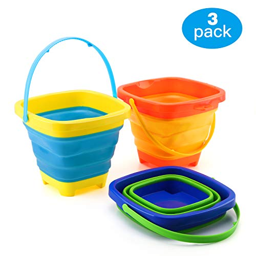 Zooawa Beach Bucket Sand Toy for Kids, [3 Pack] Foldable Beach Pail Silicone Collapsible Buckets Summer Party Playing Portable Pail for Camping, Fishing and Home Storage, 2 Liter/0.5 Gallon, Colorful -