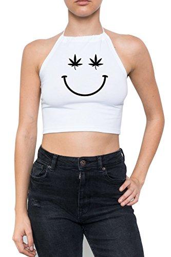 Minga London Smiley Halter Crop Top Fun Women's Weed Cannabis Fun