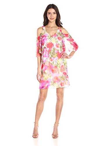 - Maggy London Women's Brushed Flower Printed Chiffon with Cold Shoulder, Pink 14