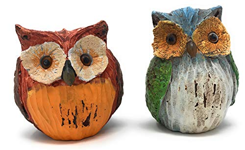 (Green Tree Carved Resin Wise Owl Statues, Set of 2 Figurines)
