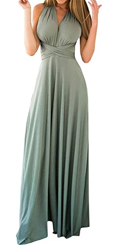 PARTY LADY Women's Sexy Sleeveless Backless Deep V Neck Satin Long Party Dress Gown Size XL Grey-Green