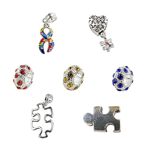 Autism Charms For Pandora Bracelets: Set Of 7 Autism Awareness Charms & Beads Includes