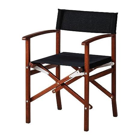 IKEA SIARO - la silla del director, al aire libre, de color gris oscuro, marrón manchada - 80x100 cm: Amazon.es: Hogar