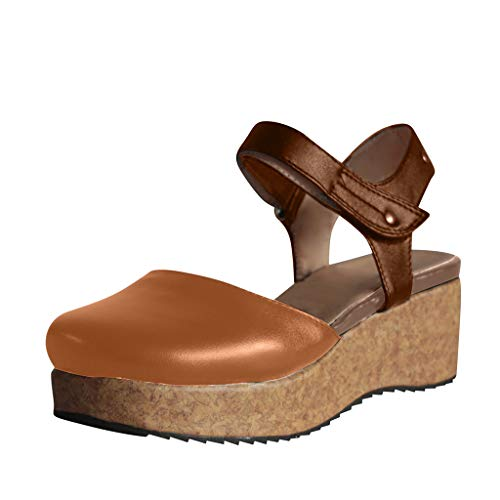 - HIRIRI Wild Day Lady's Wedge Thick-Bottomed Sandals Round Toe Platform Hook & Loop Casual Sandals Brown