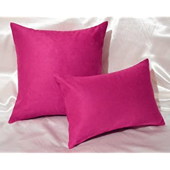 Creative Luxury Faux Suede Decorative Pillow COVER   12 By 18 Hot Pink