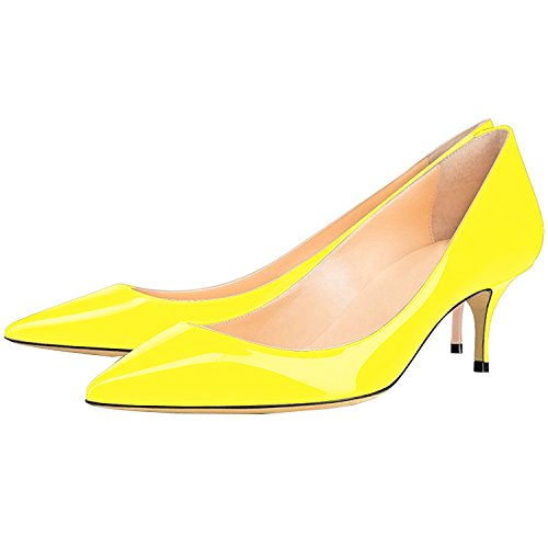 6 Shoes on Patent Lovirs Slip Toe Pointed 5CM Womens Pumps Heels Leather Yellow Office Kitten Rfwx7gwP