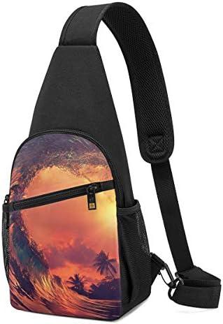 ハワイの波 斜め掛け ボディ肩掛け ショルダーバッグ ワンショルダーバッグ メンズ 多機能レジャーバックパック 軽量 大容量