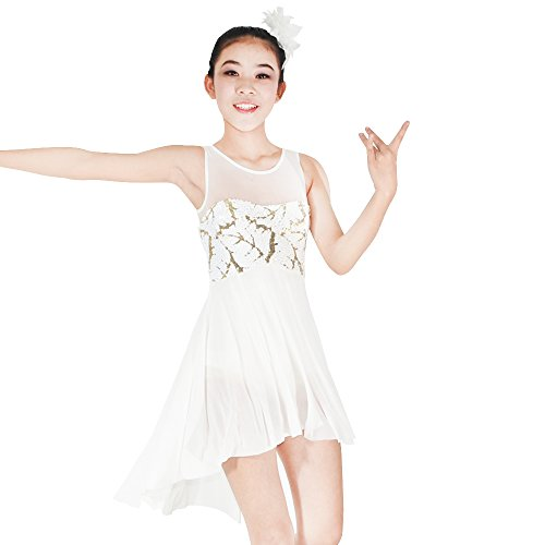 Sequin Unitard Costume (MiDee Lyrical Dress Contemporary Costume Sequins Tank Illusion Sweetheart Front V Back Highlow Skirt (SA, Ivory))