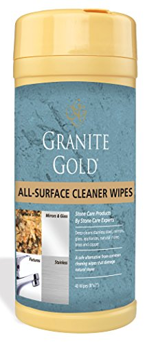 Granite Gold All-Surface Wipes - Household Cleaning Wipes For Stainless Steel, Glass, Granite, Quartz, Marble Surfaces - 40 Pack