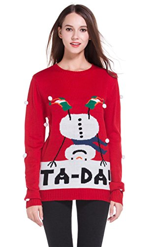 Women's Christmas Cute Reindeer Snowflakes Knitted Sweater Girl Pullover (XX Large, Ta-Da)