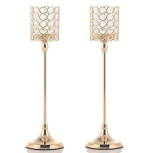 VINCIGANT 2PCS 18 Inches Gold Crystal Tea Light Candle Holders for Coffee Table Decorative Centerpiece,Gift for Anniversary Wedding ()