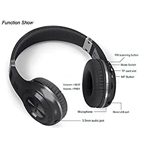 Bluedio H Plus (Turbine) Wireless Bluetooth Headphones V4.1 Bass Stereo Over-ear Headset with Mic FM Radio Support SD Card for iPhone Samsung (Black)