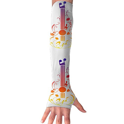 Chion Guitar Music Symbol Gloves Anti-uv Sun Protection Long Fingerless Arm Cooling ()