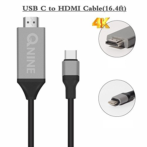 QNINE USB C to HDMI Cable HDTV 4K(16.4ft), Thunderbolt 3 USB 3.1 Male to HDMI Male Cable Adapter for 2016 MacBook Pro, 2015 MacBook, ChromeBook Pixel, Galaxy S8/ S8 Plus, LG G5/G6 by