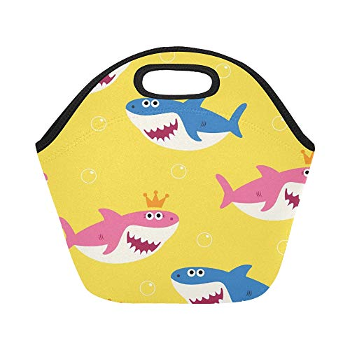 Insulated Neoprene Lunch Bag Baby Shark Drawing Large Size Reusable Thermal Thick Lunch Tote Bags For Lunch Boxes For Outdoors,work, Office, School