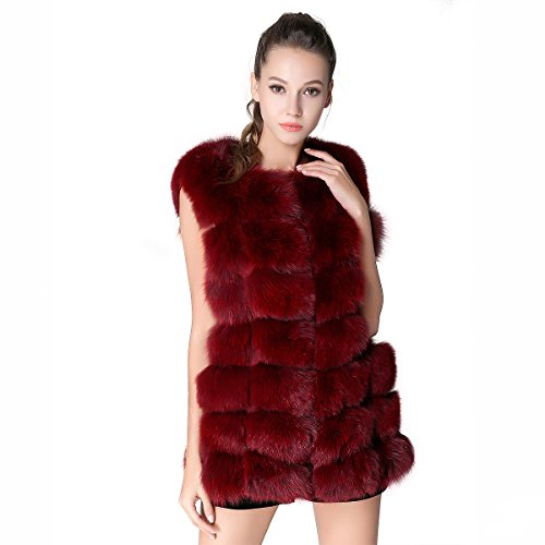 MEEFUR Fur Vests Winter Gilet Outerwear Real Fox Fur Wais...