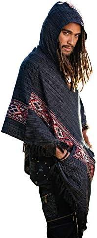 ポケットグレーブラックカシミヤヤクウール手作りケルト刺繍ジプシー自由奔放に生きる原始祭レイヴメキシコAJJAYAメンズとフード付きポンチョ